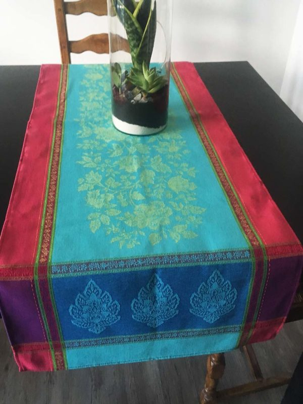 Chemins de table - provence - made in france - jacquard - caprice turquoise