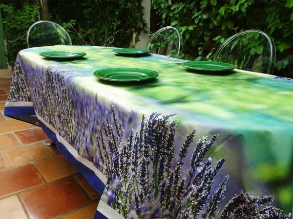 Nappe impression numérique avec photo Lavande Riez, violet