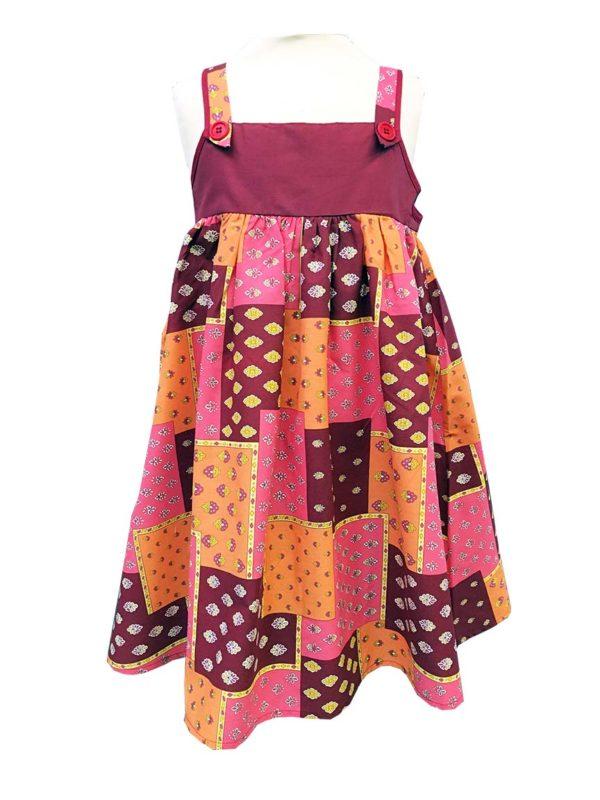 Robe - enfant - provence - collection exclusive - Noémie patch Orange rose