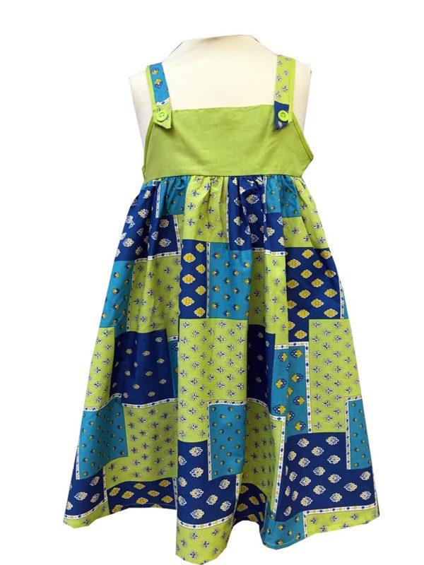 Robe - enfant - provence - collection exclusive - Noémie patch vert bleu