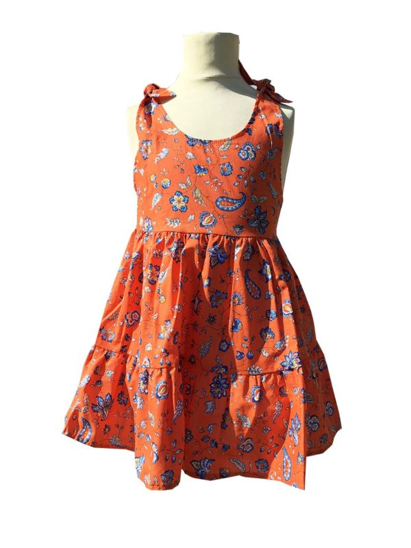 Robe - enfant - provence - collection exclusive - Caline indienne orange