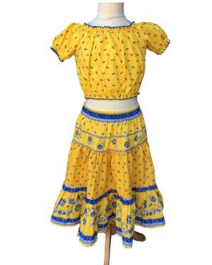 Jupe et caraco- enfant - provence - collection exclusive - castelanne jaune