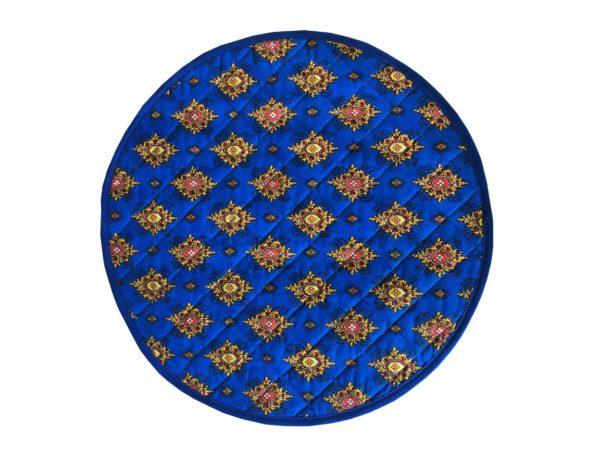 Set de table valdrôme rond avec biais autour avec des mouches provençales, de couleur bleu