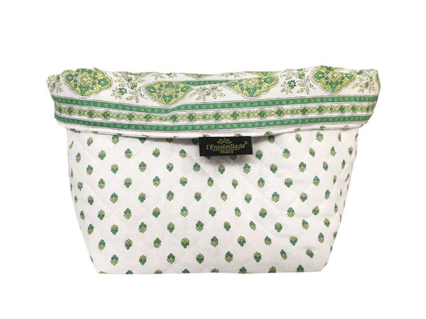 Corbeille matelassé - vide poche - esterel ecru vert blanc
