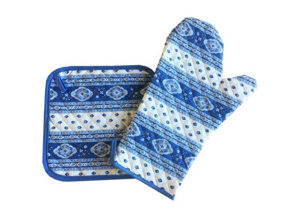gant et manique- provence - made in france - Collection exclusive - Esterel écru ciel blanc bleu