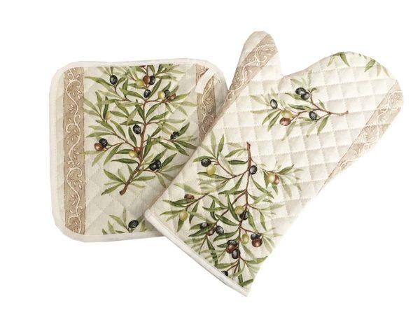 Gant et manique - cuisine - provence - Olives - clos des oliviers écru
