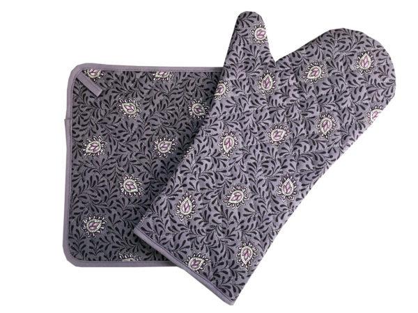 gant et manique- provence - made in france - Collection exclusive -garlaban parme violet