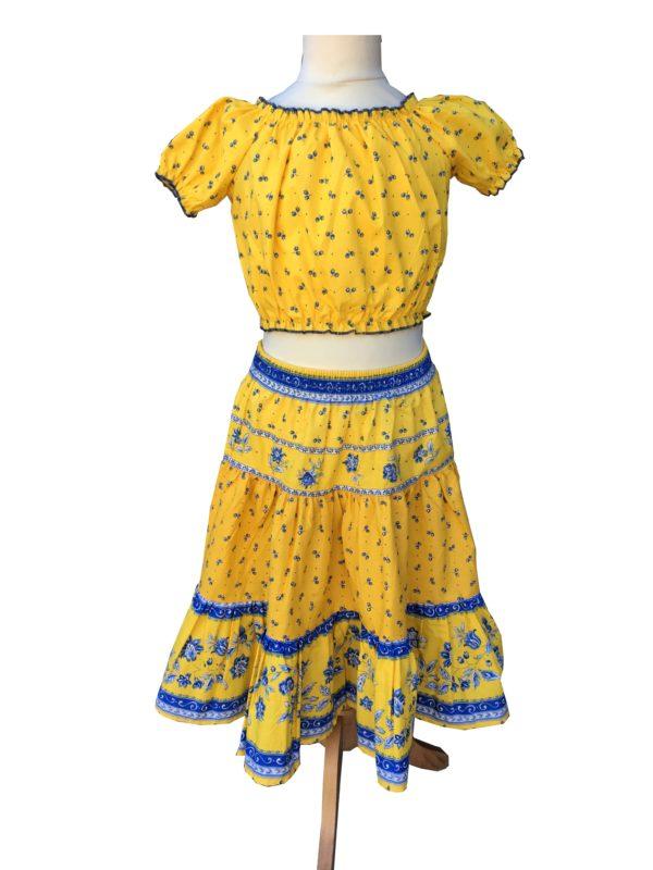 Jupe et caraco- enfant - provence - collection exclusive -castellanne jaune