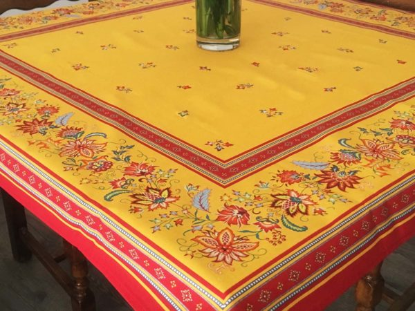 Nappe 100 x 100 cm - provence - made in france - Collection exclusive - luberon jaune multico