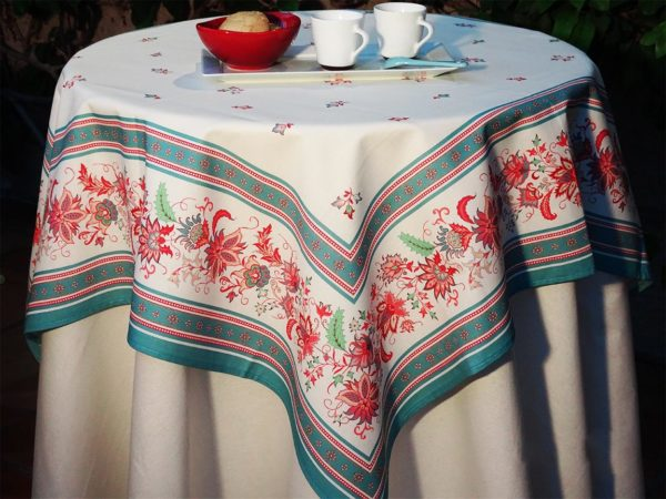 Nappe 100 x 100 cm 2 - provence - made in france - Collection exclusive - luberon vert d'eau vert blanc