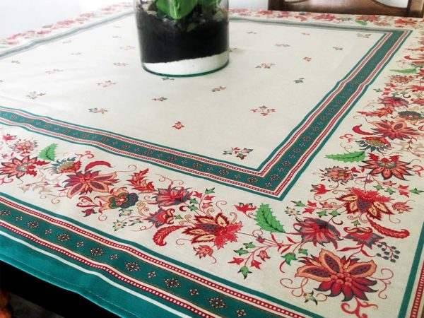Nappe 100 x 100 cm - provence - made in france - Collection exclusive - luberon vert d'eau vert blanc