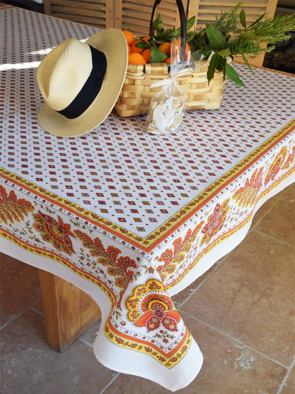 Nappe - provence - made in france - Collection exclusive -mirabeau orange blanc multico 1