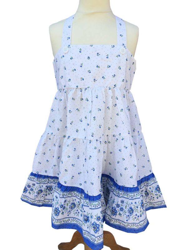 Robe Alice - enfant - croisée dans le dos - nœud - Beaucaire blanc bleu
