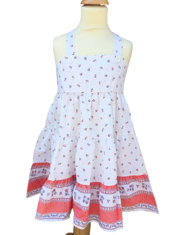 Robe Alice - enfant - croisée dans le dos - nœud - Beaucaire Corail orange blanc