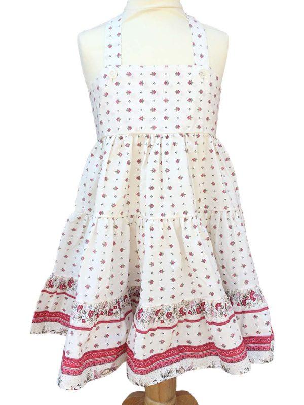 Robe Alice - enfant - croisée dans le dos - nœud - vence grenadine blanc rose