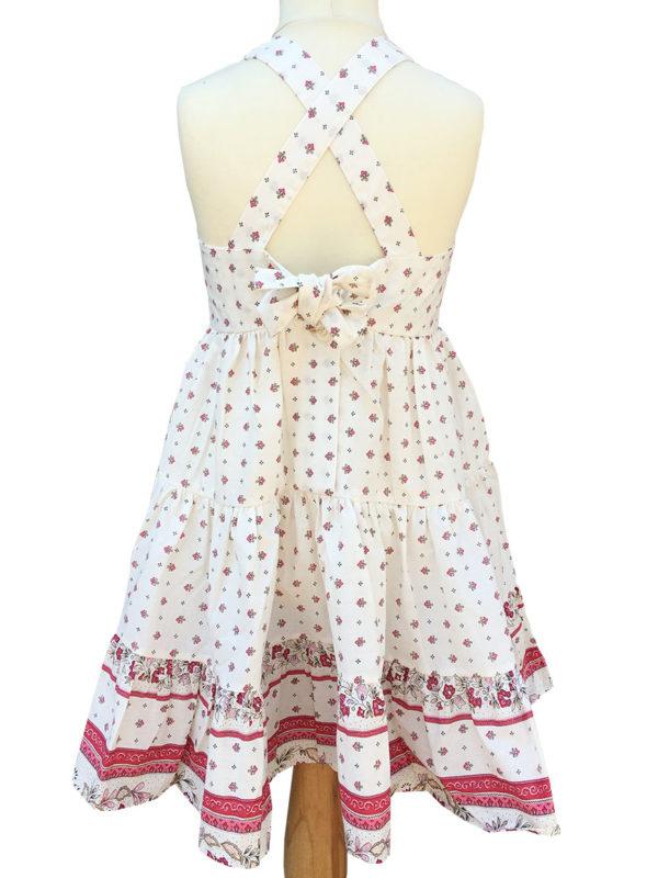 Robe Alice - enfant - croisée dans le dos - nœud - vence grenadine blanc rose dos