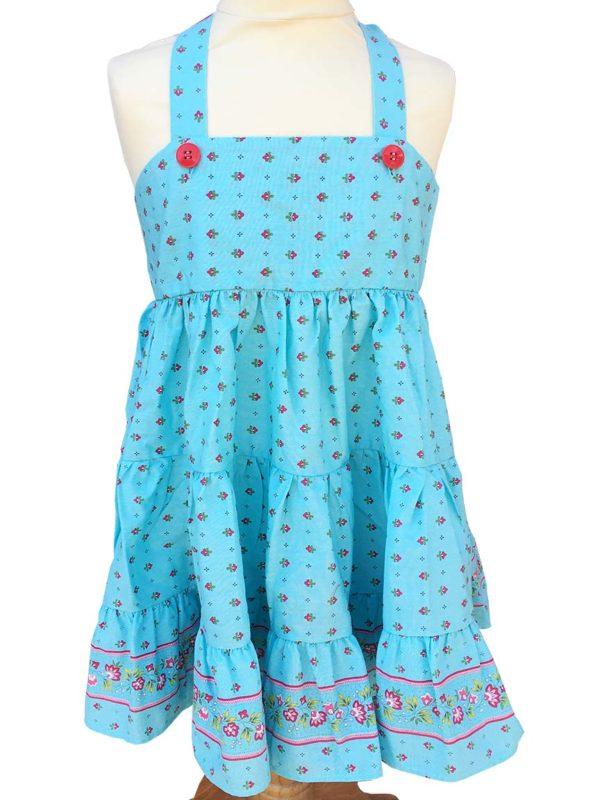 Robe Alice - enfant - croisée dans le dos - nœud - vence turquoise