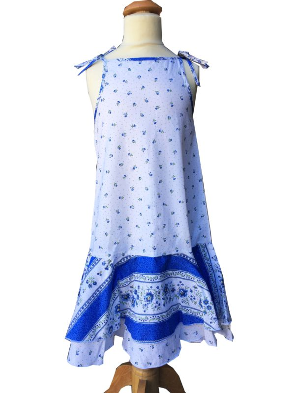 Robe - enfant - provence - collection exclusive -Manon beaucaire blanc bleu