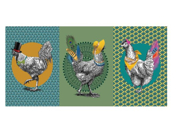 Torchons - Provence - Made in France - numérique - Gallinacé - poule