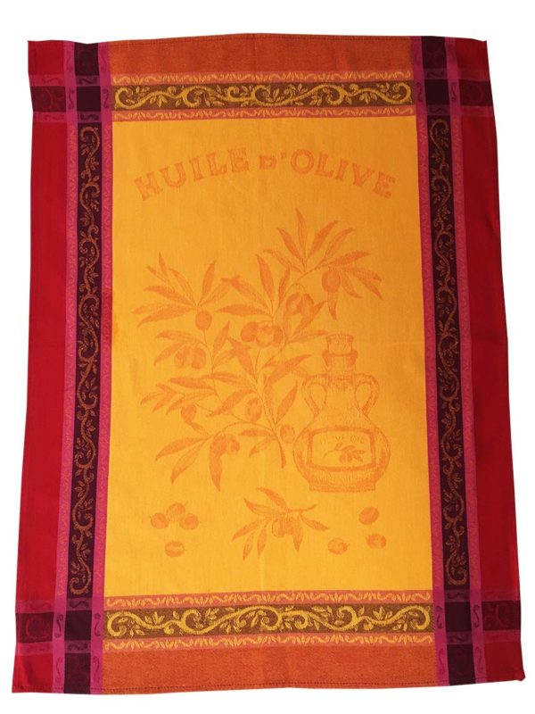 Torchons - Provence - Made in France -jacquard - Olive jaune rouge