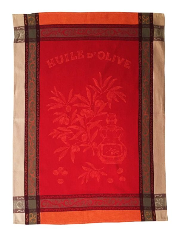 Torchons - Provence - Made in France -jacquard - Olive rouge