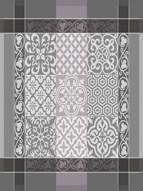 Torchons - Provence - Made in France -jacquard - Reillanne gris