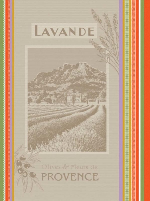 Torchons - Provence - Made in France - effet lin - tissé teint champs lavande