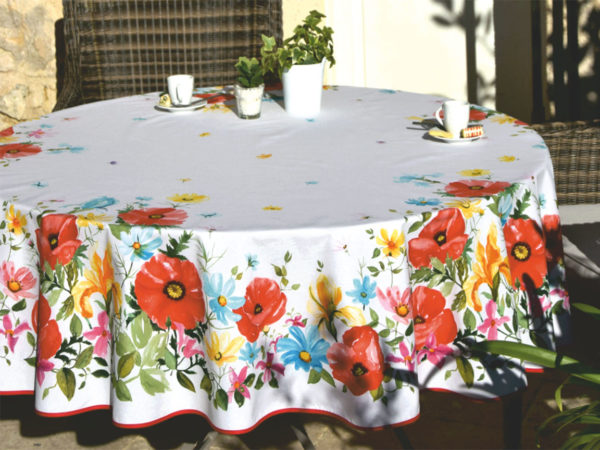 Nappes - provence - made in france - Coquelicot - blanc