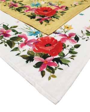 serviettes - provence - made in france -coton - coquelicot couleurs