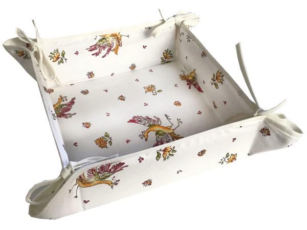 Corbeille - pain - tissu - provence - provençale - moustiers - oiseau - écru - rose