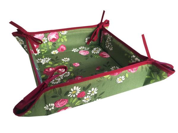 Corbeille - pain - -vert - tissu - provence - provençale - fleurs - rose