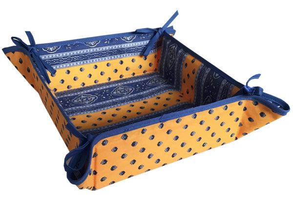 Corbeille - pain - tissu - provence - provençale - -mouche provenaçale - bleu - jaune