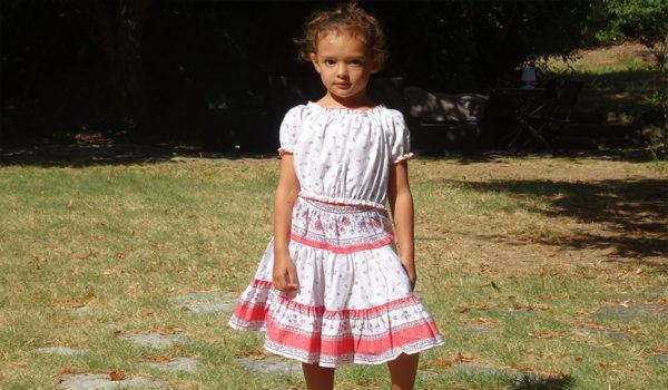 Jupe et caraco- enfant - provence - collection exclusive - beaucaire blanc rose corail - vendus ensemble - de 2 ans à 12 ans