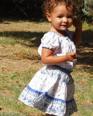 Jupe et caraco- enfant - provence - collection exclusive - beaucaire blanc bleu corail - vendus ensemble - de 2 ans à 12 ans